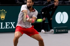 Fernando Verdasco hits a backhand shot