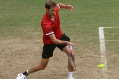Florian Mayer hits a forehand in warm up