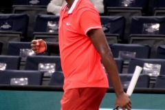 Frances Tiafoe celebrating a point