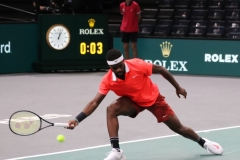 Frances Tiafoe trying to save a point
