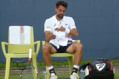 Jeremy Chardy recovering during a break