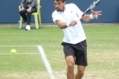 Jeremy Chardy hits a slice backhand
