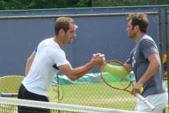 Richard Gasquet and Malek Jaziri thank eachother after practice