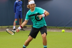 Lukas Lacko warming up the forehand