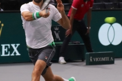 Marin Cilic hits a running forehand