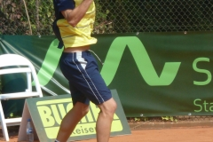 Pedro Sousa hits a backhand from the backcourt