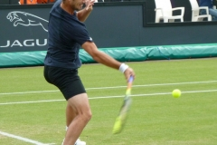 Richard Gasquet hits a low forehand
