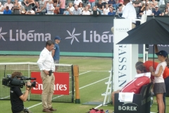 Stefanos Tsitsipas receiving shoulder treatment