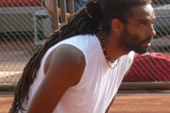 Dustin Brown focused at the net
