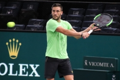 Damir Dzumhur prepares to hit a slice backhand