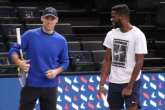Frances Tiafoe having fun with his coach Robby Ginepri