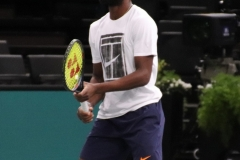 Frances Tiafoe during warm-up