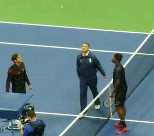 Roger Federer, Mohamed Lahyani, Frances Tiafoe at US Open New York